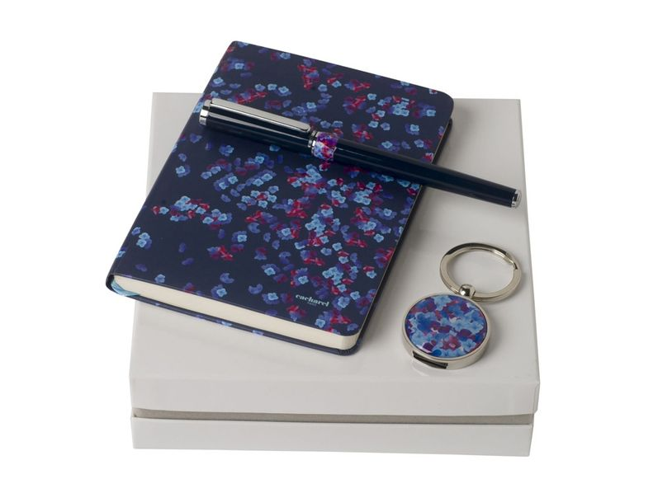 Подарочный набор Blossom: брелок с USB-флешкой на 16 Гб, блокнот A6, ручка-роллер, синий/серебристый - фото № 1