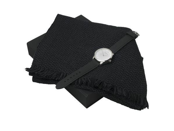 Подарочный набор Celso: шарф, часы наручные мужские, чёрный - фото № 1