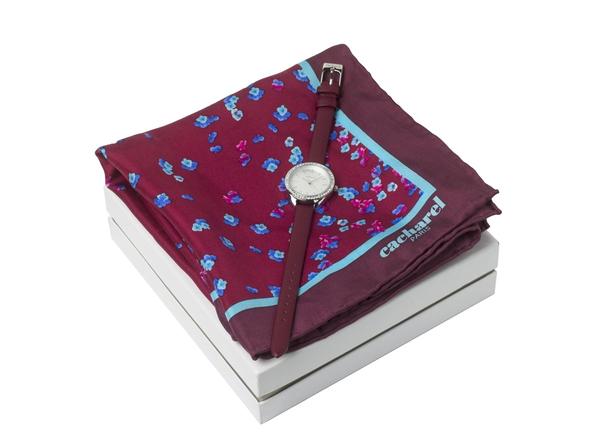 Набор подарочный Cacharel: часы наручные женские, шелковый платок, бордовый - фото № 1