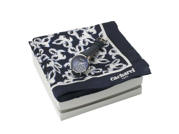 Набор подарочный Cacharel: часы наручные женские, шелковый платок, чёрный/ белый - фото № 1