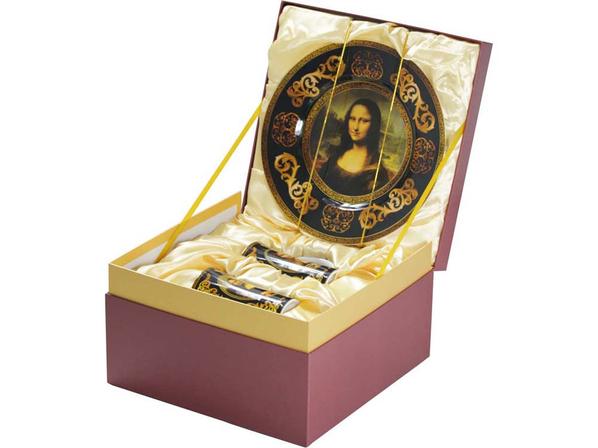 Подарочный набор Мона Лиза: блюдо для сладостей, две кружки