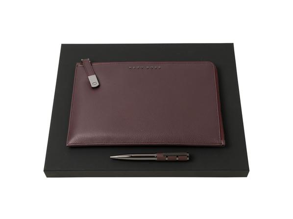 Подарочный набор: конференц-папка с блокнотом, ручка шариковая, тёмно-бордовый - фото № 1