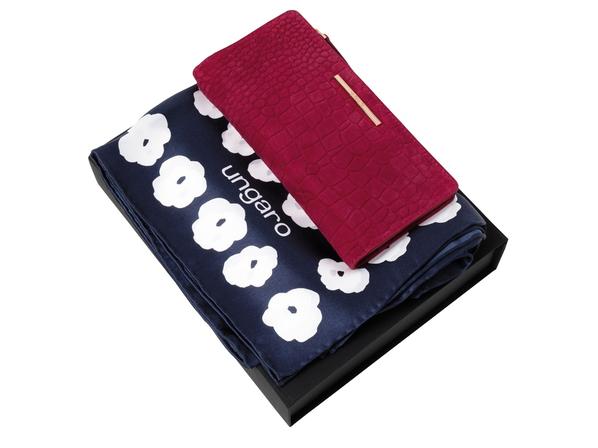 Подарочный набор: платок шелковый, кошелек дамский, тёмно-синий/фуксия - фото № 1