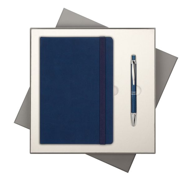 Набор подарочный Portobello BtoBook Latte ST: ежедневник недатированный А5, ручка шариковая, синий - фото № 1