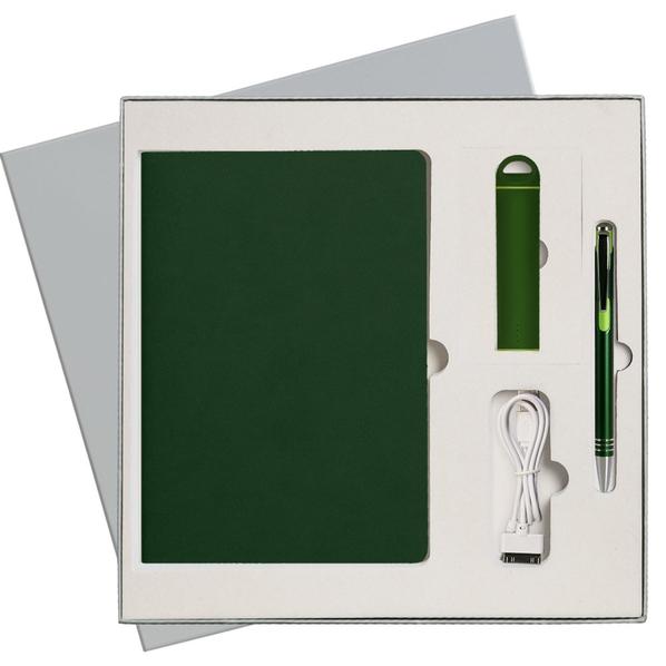 Набор подарочный Portobello Latte: ежедневник недатированный А5, внешний аккумулятор, ручка, зеленый / серый - фото № 1