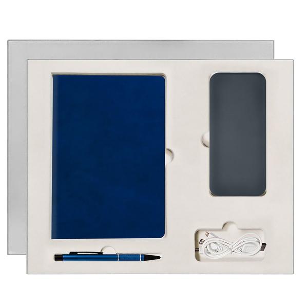 Набор подарочный Portobello Winner City: ежедневник недатированный А5, внешний аккумулятор, ручка, синий - фото № 1