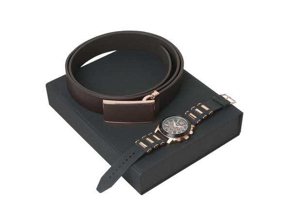 Набор подарочный Christian Lacroix Seal: ремень, хронограф, чёрно-коричневый - фото № 1