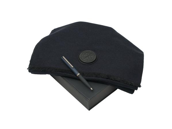 Подарочный набор: шарф шелковый, ручка шариковая, тёмно-синий - фото № 1