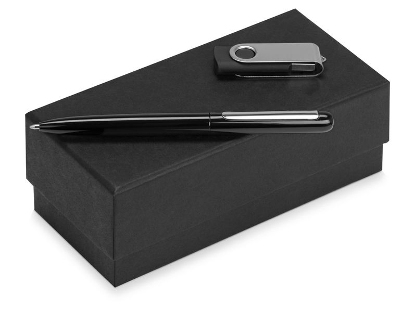 Набор подарочный Skate Mirror: ручка шариковая, флешка 8 Гб, черный - фото № 1