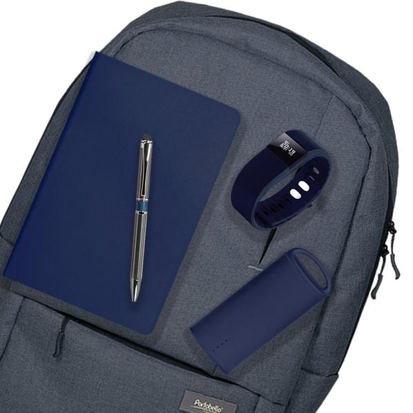 Подарочный набор Super-set-Portobello: Рюкзак, внешний аккумулятор, смарт браслет, ежедневник А5, ручка, тёмно-синий - фото № 1