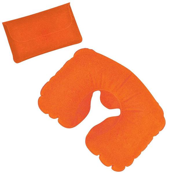 Подушка надувная дорожная в футляре, оранжевый, оранжевый - фото № 1