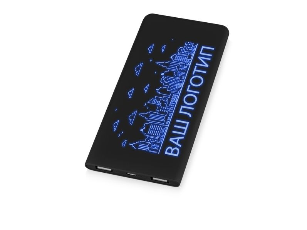 Портативное зарядное устройство с подсветкой логотипа Faros, черное, soft touch, 4000 mAh - фото № 1
