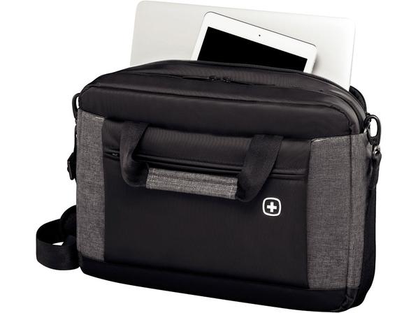 Портфель Wenger Underground для ноутбука 16'', серый меланж/ черный - фото № 1