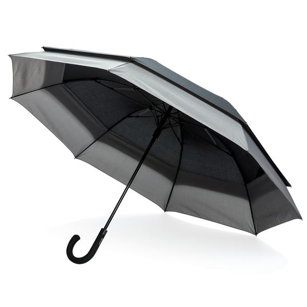 """Зонт трость двойной купол полуавтомат Swiss Peak 23-27"""", черный - фото № 1"""