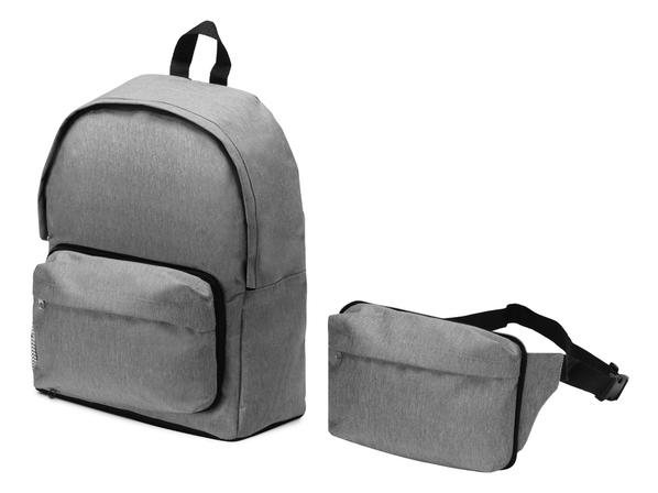 Рюкзак из переработанного пластика Extend 2 в 1 с поясной сумкой, серый - фото № 1