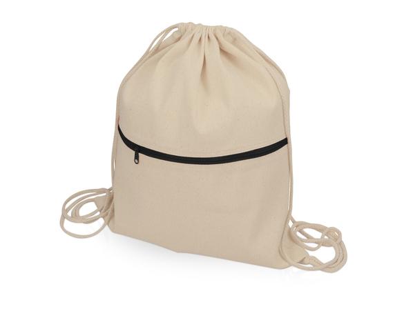 Рюкзак-мешок хлопковый Lark, бежевый/ черный - фото № 1