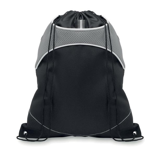 Рюкзак, карман-сеточка из нейлона, серый/черный - фото № 1