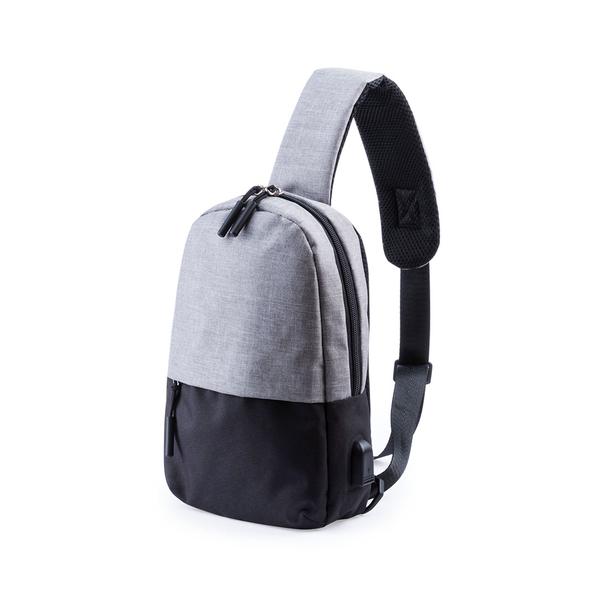 Рюкзак на одно плечо Single, черный / серый - фото № 1