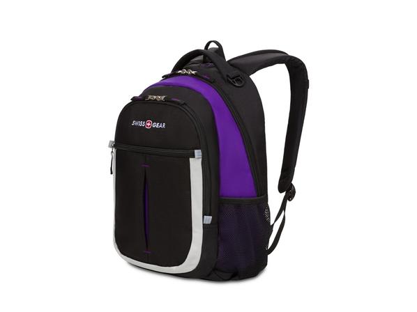 Рюкзак школьный Swissgear Montreux, черный / фиолетовый - фото № 1