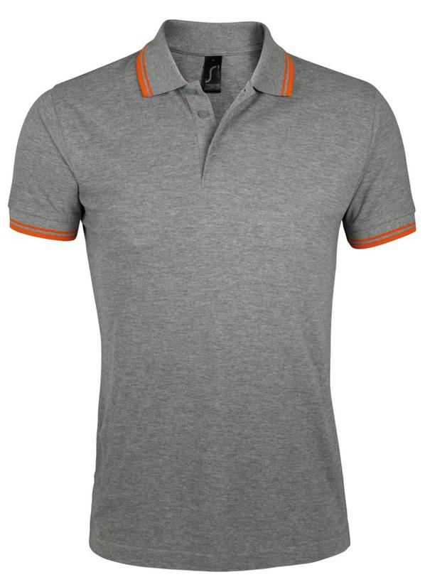 Рубашка поло мужская Sol's Pasadena Men 200, серый меланж / оранжевая - фото № 1