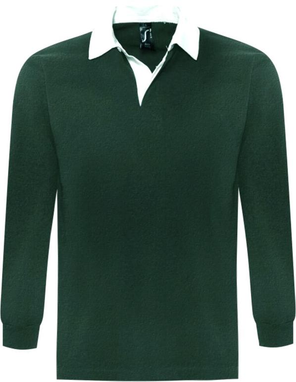 Рубашка поло с длинным рукавом мужская Sol's Pack 280, темно-зеленая / белая - фото № 1