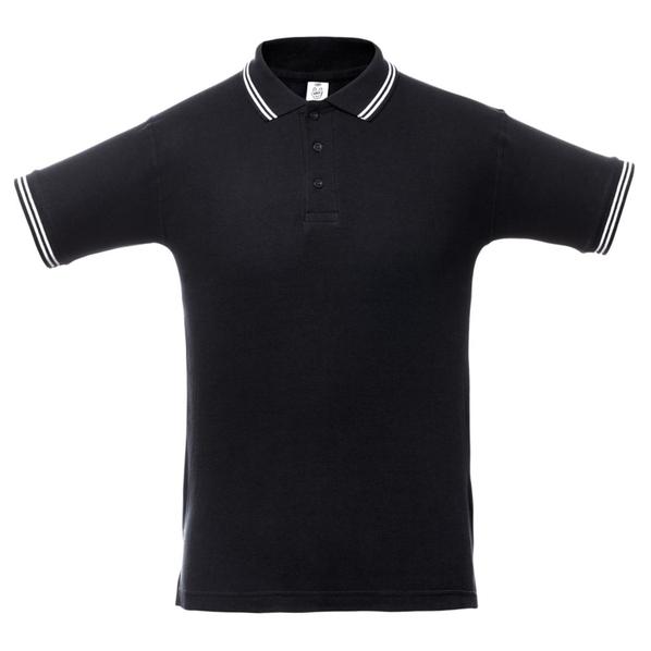 Футболка поло мужская Unit Virma Stripes, черная - фото № 1