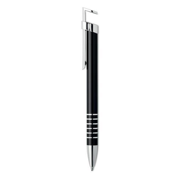 Ручка шариковая металлическая / подставка для телефона, черная / серебряная - фото № 1