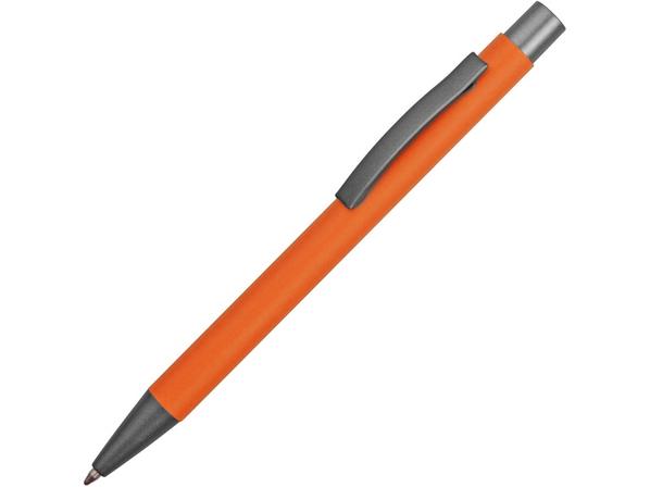 Ручка металлическая soft touch шариковая Tender, оранжевая/серая - фото № 1