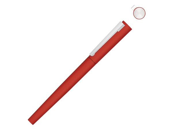 Ручка-роллер металлическая Uma Brush R Gum, soft touch, красная - фото № 1