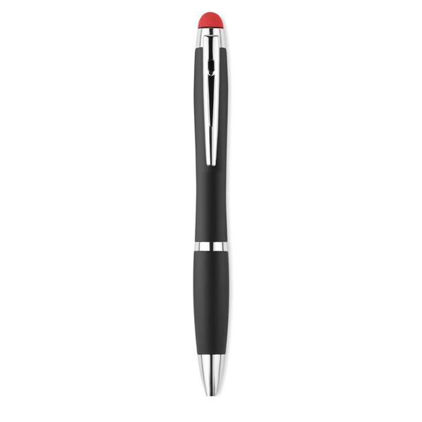 Ручка стилус шариковая металлическая с подсветкой логотипа, антрацит/ красная - фото № 1