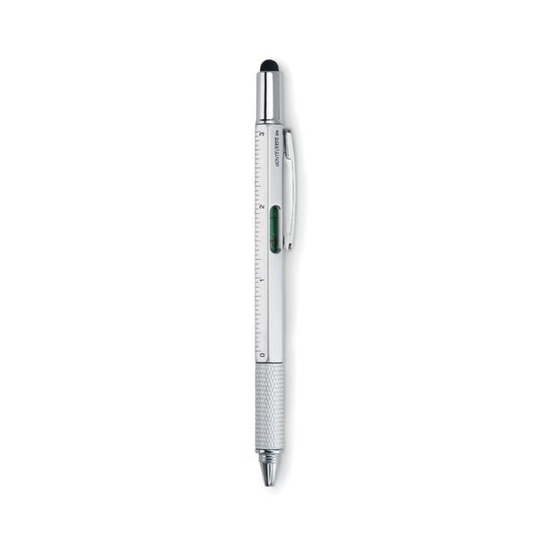 Ручка стилус шариковая металлическая с уровнем, линейкой, отверткой, серебряная - фото № 1