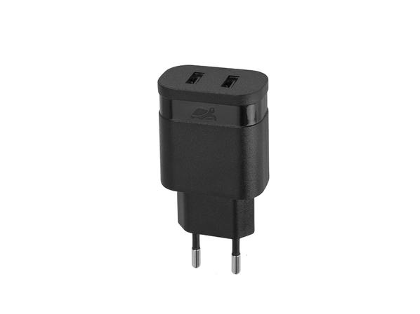 Зарядное устройство сетевое на 2 порта RIVACASE, черное - фото № 1