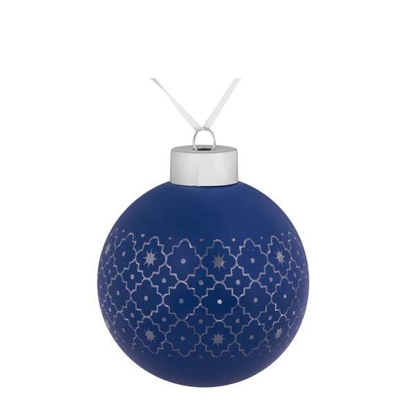 Шар елочный стеклянный Chain, 8 см, синий - фото № 1
