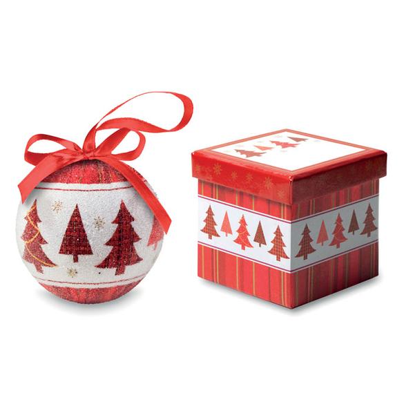 Шар новогодний в коробке Елка, красный / белый - фото № 1