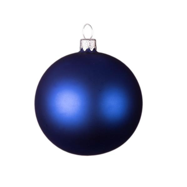 Шар новогодний Matt стеклянный, синий - фото № 1
