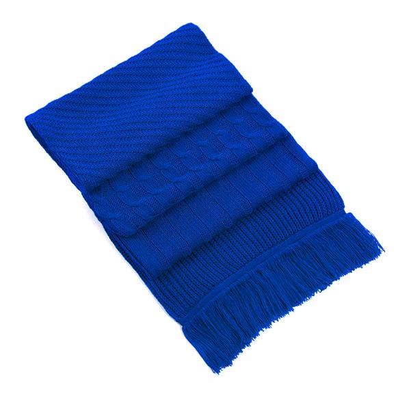 Шарф фактурный вязаный, синий - фото № 1