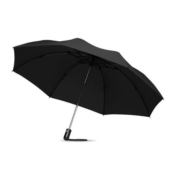 Зонт складной наоборот полуавтомат, черный - фото № 1