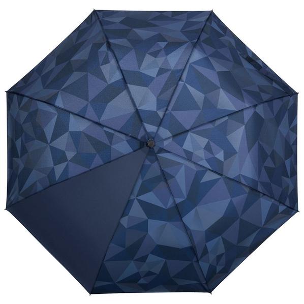 Зонт складной с рисунком полуавтомат Gems, синий / темно-синий - фото № 1