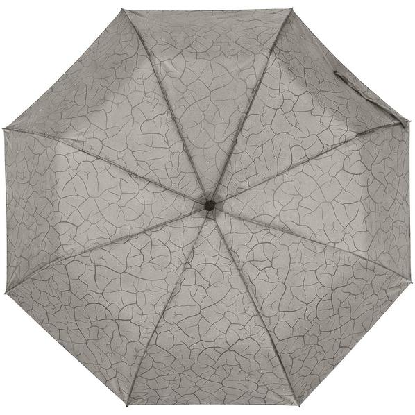 Зонт складной с проявляющимся рисунком полуавтомат Tracery, серый - фото № 1