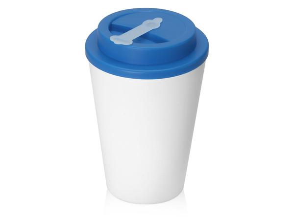 Стакан с двойными стенками пластиковый Take away, белый / голубой - фото № 1
