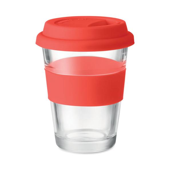 Стеклянный стакан, красный, 350 мл - фото № 1