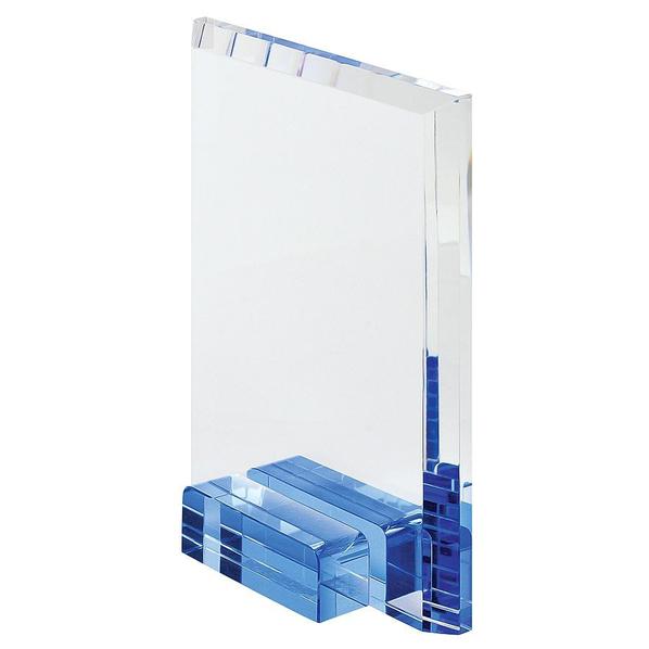 Стела наградная Прямоугольник в подарочной упаковке, прозрачный, синий - фото № 1