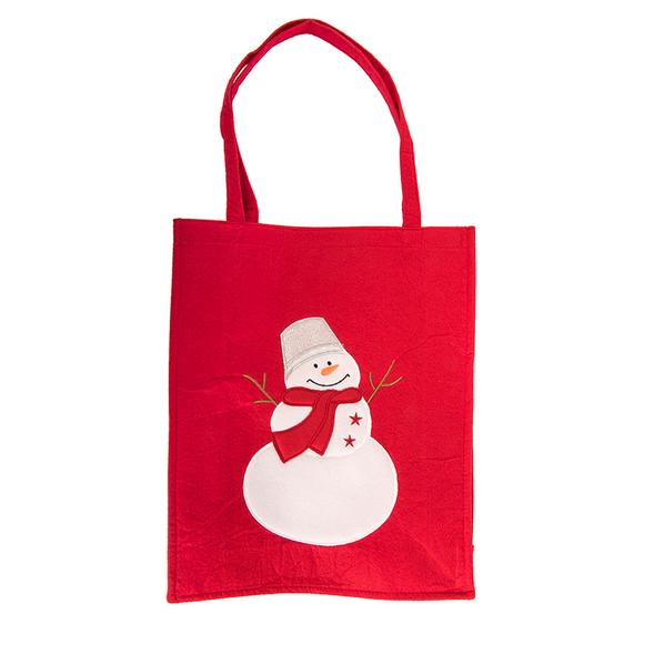 Сумка Дед Мороз, с аппликацией, красный - фото № 1