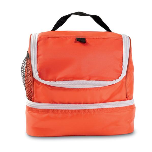 Сумка-кулер (термос), дополнительный сетчатый карман сбоку, оранжевый/белый - фото № 1