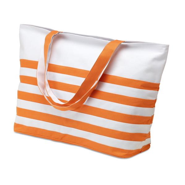 Сумка пляжная, полосатая, оранжевый/белый - фото № 1
