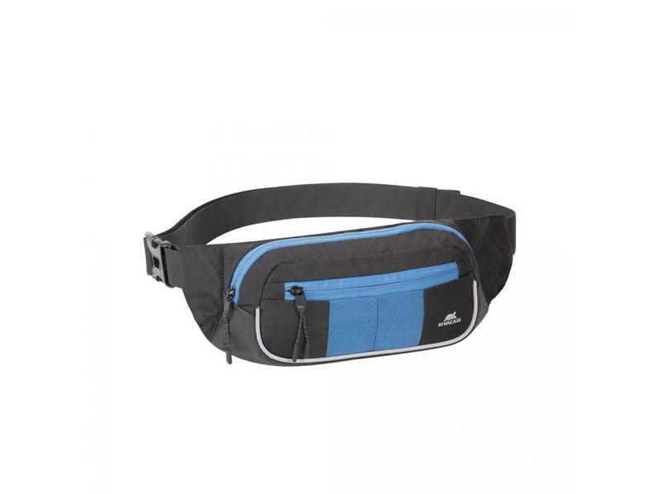 Сумка поясная для мобильных устройств Rivacase, синяя / черная - фото № 1