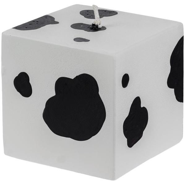 Свеча Spotted Cow в виде куба, белая / черная - фото № 1