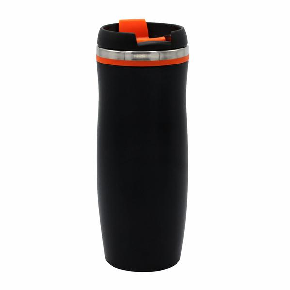 Термокружка Dark Latte, 420 мл, черная / оранжевая - фото № 1