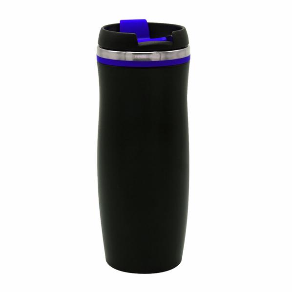 Термокружка Dark Latte, 420 мл, черная / синяя - фото № 1
