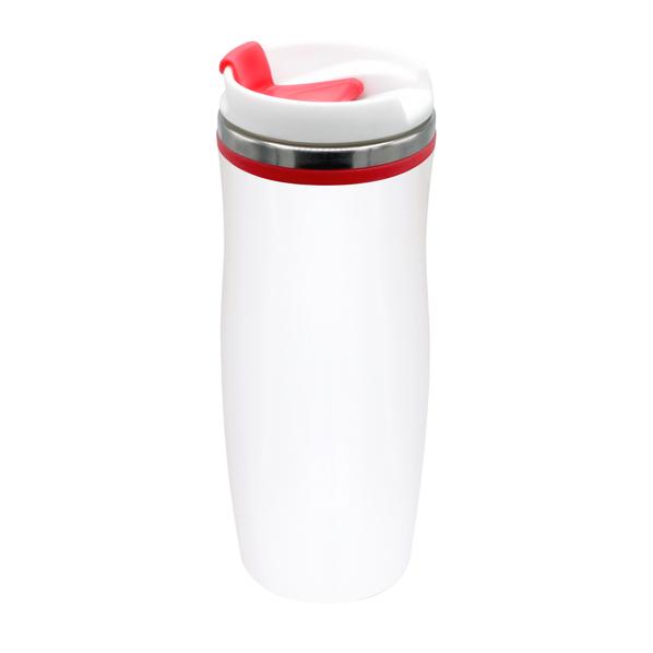 Термокружка Latte, 420 мл, белая / красная - фото № 1